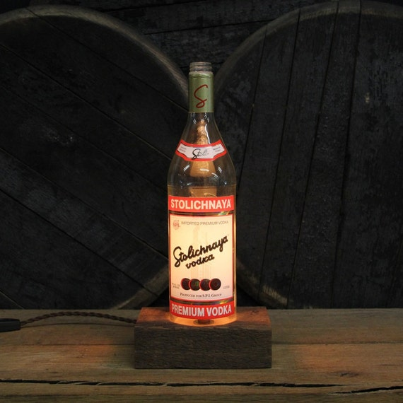 Stolichnaya Vodka Bottle Lamp Stoli- Features Reclaimed Wood Base, Edison Bulb, Twisted Cloth Wire, In line Switch, And Plug, Upcycled Light
