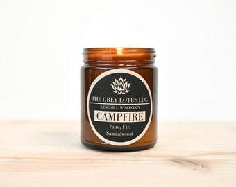 Campfire Candle || Hand Poured || Organic Soy Wax // Amber Glass Jar