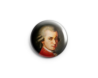 Mozart -  Pinback Button, Magnet, or Flair - Mozart Button, Badge, Pin, Classical Music, Composer button, Mozart fridge magnet
