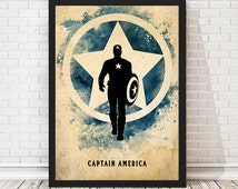 Vintage Avengers Captain America Poster, Retro Poster, Minimalist Poster, A3 Print (11.7x16,5 inches)