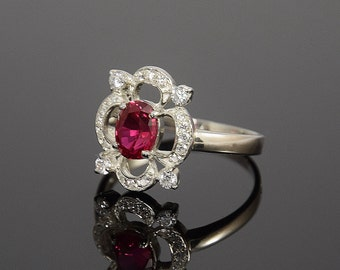Ruby ring, Silver ruby ring, Rose stone ring, Art deco ring, Victorian ring, Gemstone ring, July birthstone