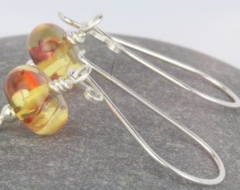 Amber earrings ~ long dangle beaded earrings ~ summer jewellery ~ drop earrings ~ amber jewellery ~ jewellery ~ affordable jewellery