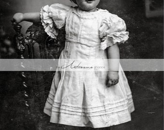 Instant Printable Download - Baby Girl in White Antique Photography Portrait - Paper Crafts Altered Art Scrapbook - Shabby Chic Girl Decor