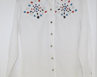 Vintage Cowgirl Shirt By Sir James Faux Turquoise and Coral Details Butterfly Collar Made in Hong Kong Free US Standard Shipping