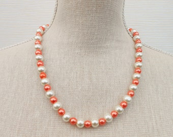 Ivory and orange pearl necklace, Wedding jewelry, Bridesmaid gift, bridesmaid necklace, mother gift, beaded necklace, beaded jewelry