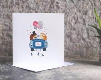 Hedgehog Wedding congratulations Card, Just married Wedding Car Card, Congratulations, Just Married Hedgehog  quirky Greetings Card