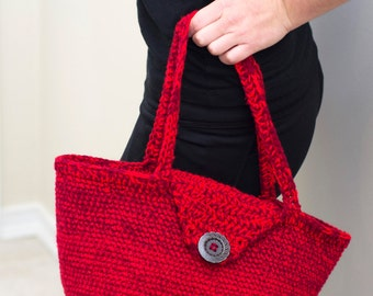 Crochet Handbag with Wood Button