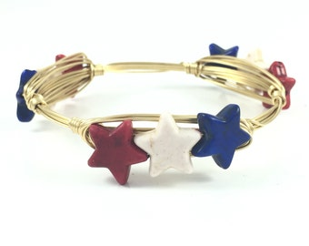 Red White And Blue Star Wire Wrapped Bangle - Courtney And Courtnie - Independence Day - Handmade Jewelry - 4th Of July Jewelry - Patriotic