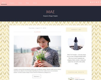 "Blogger Template Responsive - premade Blogger Template - ""MAE""   Blogger Theme - Sale -  Feminine - Sidebar Layout - Instant Download"