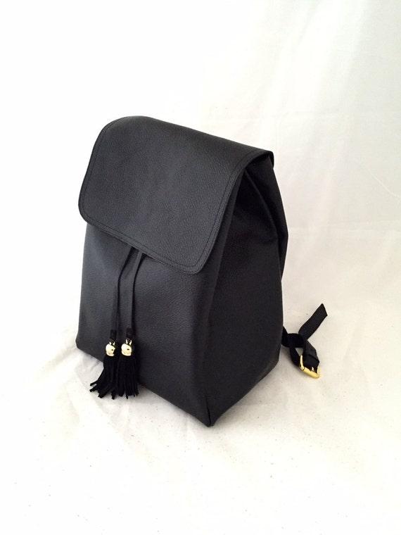 Classic Black  BackPack Medium Large Leather Bag OLA Olaccessories FREE SHIPPING