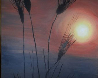 Field Grass at sunset, Landscape Painting, Field Painting, Wild grass painting, Original acrylic,11x14
