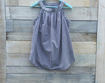 Tunic Top, Upcycled Clothing, Tattered Look, Striped Shirt, Rustic Chic, Eco Girl Couture