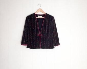 Velvet Jacket - Vintage Jacket - Crushed Velvet Jacket - Velvet Blazer - Vintage Jacket Women- 90s Clothing - Asian Jacket - Velvet Blazer
