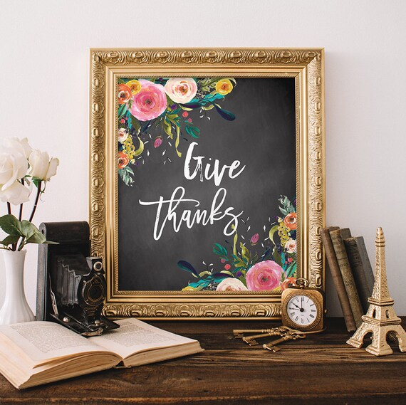 Items Similar To Give Thanks Fall Wall Art Fall Decor Fall - fall home decor quotes