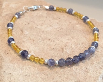 Blue and yellow bracelet, amber bracelet, iolite bracelet, Hill Tribe silver bracelet, sterling silver bracelet, gemstone bracelet,