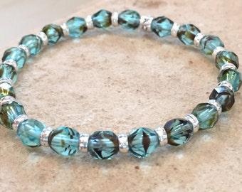Blue bracelet, teal bracelet, boho bracelet, stretch bracelet, yoga bracelet, sterling silver bracelet, elastic bracelet, gift for her