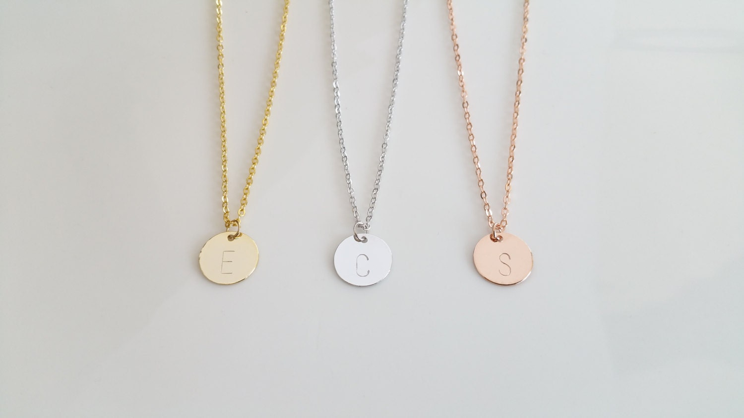 disc initial necklace dainty disc necklace gold initial