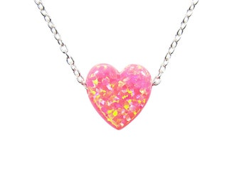 Opal Heart Necklace Pink Pendant Sterling Silver Chain