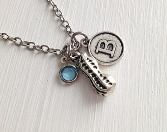 peanut necklace - silver peanut - personalized necklace - peanut charm - bff necklace - friendship necklace - sister gift