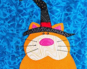 Halloween Cat  - Quilt Karma Pattern - Paper Strip Piecing Raw Edge Applique
