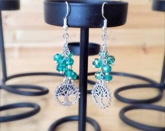 Tree Charm Earrings   Tree Earrings   Nature Earrings   Dangle Charm Earrings   Swarovski Crystal Earrings   Green Tree Earrings   Gift