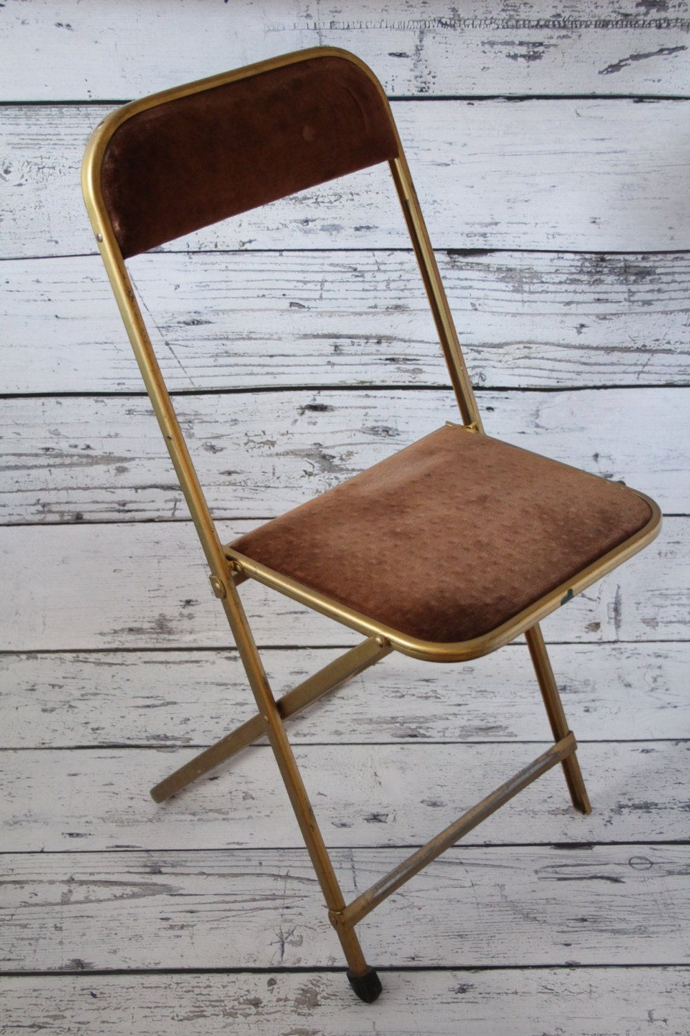 Vintage A Fritz Co Folding Chair Gold Metal Frame Brown