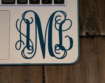 BOGO- Vine Monogram Sticker- Monogram Sticker- Monogram Decal- Preppy Monogram- Waterproof Monogram