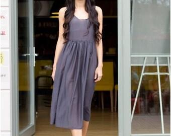 Gray silk dress, summer dress, natural silk dress,