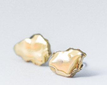gold earrings, dainty earrings, tiny earrings, small studs, mens gold earrings, handmade earrings, glossy earrings,  delicate earrings SE010