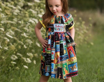 Back to School Dress, Preschool, First Day of School, Peasant Dress, Hair Bow, Girls Dress, Kindergarten, Picture Day Dress