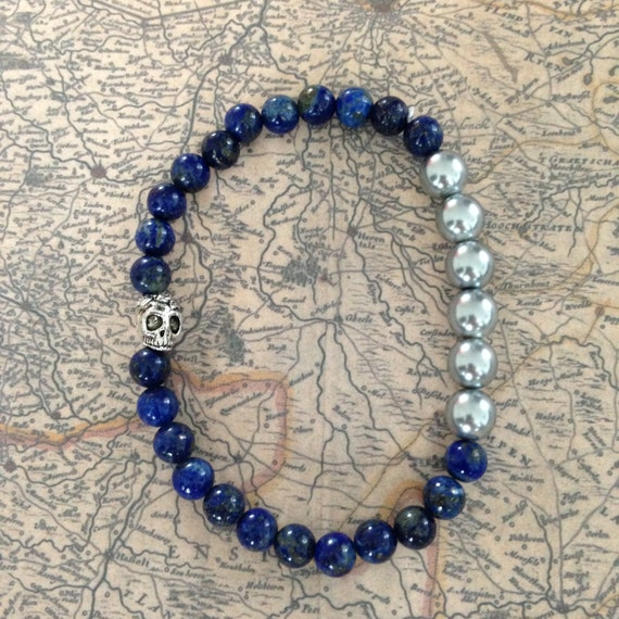 Natural men beads bracelet lapis lazuli & glass / combine with your apple watch strap/band / small skull