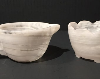 Marble White and Gray Creamer and Sugar Bowl, Vintage Marble Creamer and Sugar Bowl Set, Marble Creamer and Footed Sugar Bowl