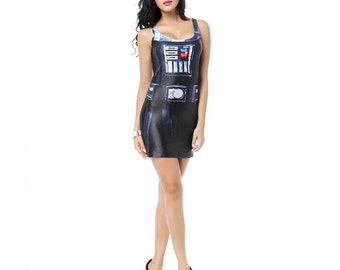 READY TO SHIP Darth Vader Star Wars Bodycon Dress Womens Adult Costume Cosplay Sexy Robot Outfit Size Small Medium Halloween