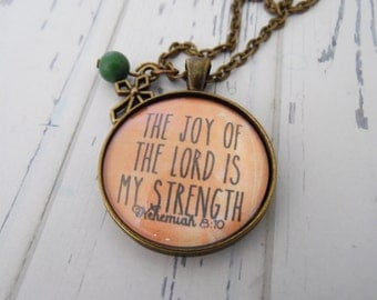 The Joy of the Lord is My Strength Necklace, Christian Gift, Encouragement, Bible Verse, Scripture, Religious, Bronze Necklace, Get Well
