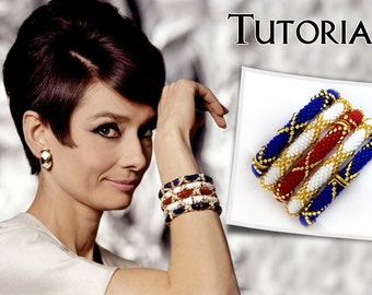 PDF Beading Tutorial Pattern Crochet Bracelet Audrey Hepburn Replica Bangle How to Make Beaded Jewelry Beginner Level Step by Step