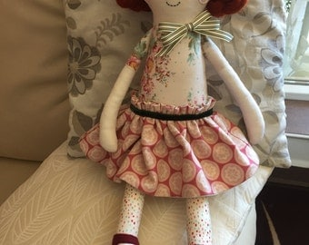 Fabric handmade doll,Rag doll,  Handmade Cloth doll, Fabric soft doll,Hanmade doll,Baby Girl gift,Stuffed doll