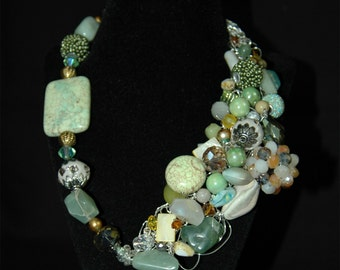 Jade Beaded and Angeled Necklace