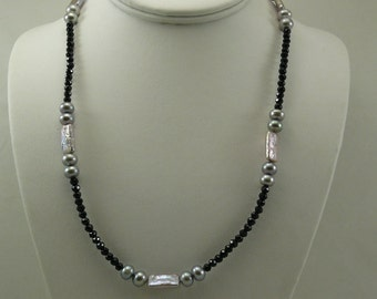 Freshwater Gray Pearl and Black Spinel Necklace with Sterling Silver Clasp