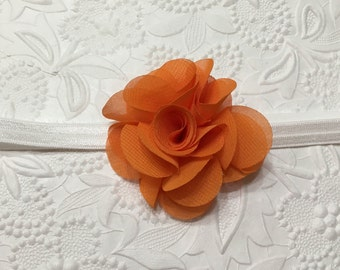 Orange Chiffon Flower on White Elastic Headband (HB-27), Orange Flower Headband, Chiffon Flower Headband, Baby Headband, Girls Headband