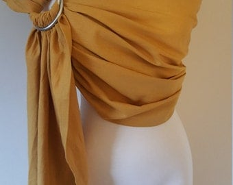 Gold yellow ring sling, wrap carrier, baby wearing, baby carrier, 'maya' style sling, shower gift, boy girl