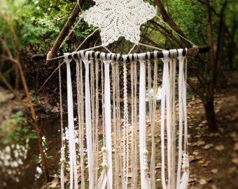 Dream Catcher, Native Dreamcatcher, White Dreamcatcher, Bohemian Dreamcatcher