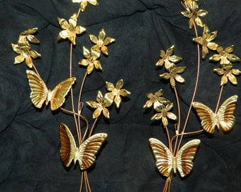 2 Copper and Brass Butterfly and Flower Wall Decor~Wall Art~Living and Dinging Room Wall Decor~Brass Art~3D Wall Hanging~Room Decor~