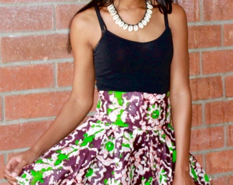 African Batik Waxed Fabric Short Skirt