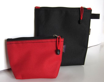 Makeup bag set Toiletry bag Set of two Travel zip pouch Red black cosmetic bags set Make-up bag Zipper pouch