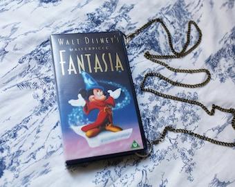 Disney's Fantasia upcycled shoulder bag, repurposed video case handbag, clutch, retro, classic, Mickey Mouse