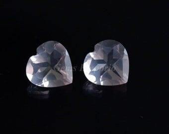 Rose Quartz 10 MM Faceted Hearts / Pink Quartz / Light Pink Gemstone / Transparent Material /Price per piece