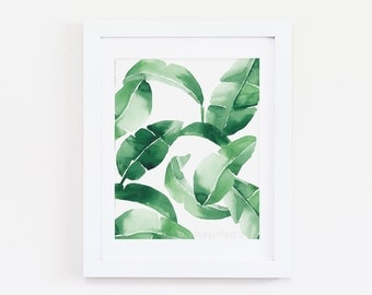 Banana Leaf Two - Watercolor Art Print - Tropical Emerald Green Palm Frond
