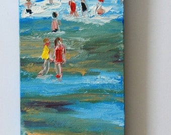 Original oil painting of swimmers in swimsuits in a blue sea in France, oil painting of a seaside landscape