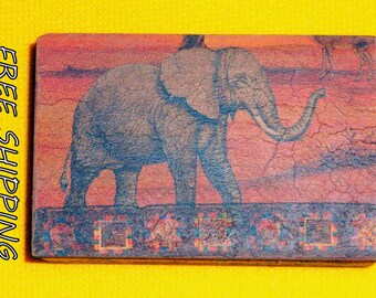 wooden box, africa print vintage style decoupage wooden box, jewerly box