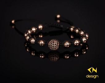 Rose Gold Plated Sterling Silver Diamonds Ball Macrame Bracelet